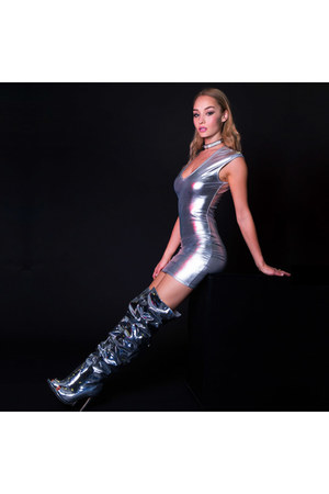 silver boots - silver dress - dress - black necklace