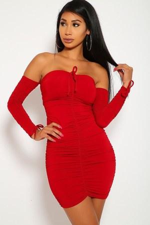 red off shoulder AmiClubWear dress