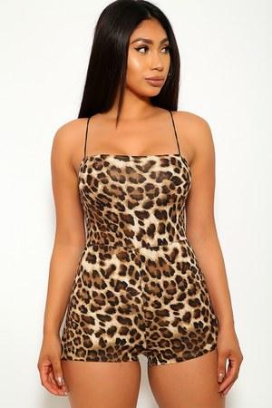 brown leopard print AmiClubWear romper