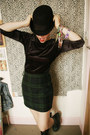 Black-bowler-ebay-hat-dark-green-tartan-thrifted-skirt
