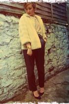 black leather vintage pants - navy vintage shoes - beige faux fur vintage jacket