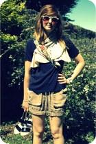 eggshell vintage scarf - dark khaki whistles shorts - aquamarine Primark sunglas