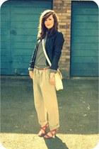 black leather Topshop jacket - off white vintage bag - hot pink M&S sandals - be