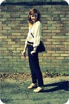 navy vintage bag - black high waisted Zara pants - camel vintage blouse - light