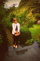 beige vintage cardigan - brown Chanel purse - beige calvin klein shoes - black G