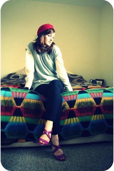 hot pink M&S sandals - maroon vintage turban hat - periwinkle Gap sweater