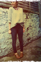 silver Gap jumper - black asos jeans - dark brown Primark loafers