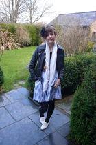 blue Topshop dress - white Topshop shoes - black Topshop jacket - brown Reiss be