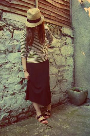 tawny straw Gap hat - black midi H&M dress - white stripe Gap top