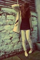 eggshell boucle Topshop coat - beige skinny Gap jeans - black Gap top