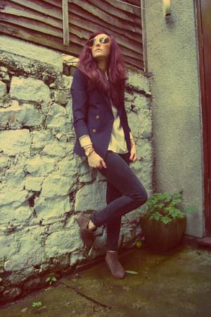 vintage jeans - Pied A Terre boots - vintage blazer - vintage blouse