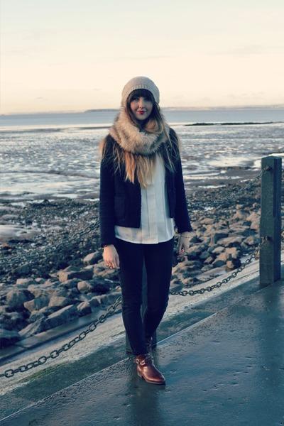 dark brown vintage Bally boots - black Gap jeans - navy Gap jacket