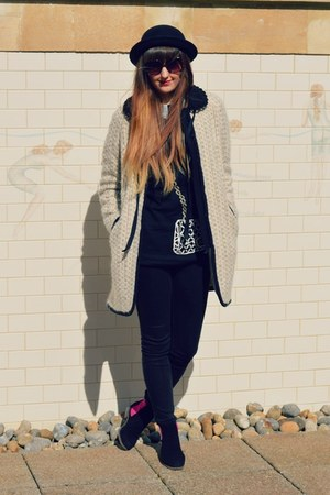 black Betty London boots - off white Topshop coat - black H&M hat