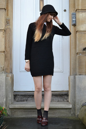 black jumper dress Primark dress - black cloche Primark hat