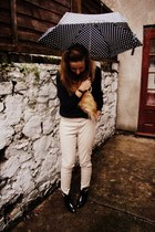 black rain boots Mel boots - cream skinny whistles pants