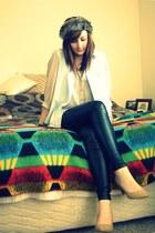 black faux leather Topshop pants - eggshell Primark heels