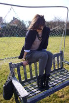 black Primark blazer - beige Stella McCartney t-shirt - gray Topshop pants - gol