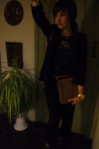 black Primark blazer - gold vintageprimark accessories - black Topshop pants - b