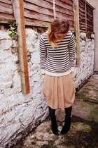 cream stripe Gap jumper - black French Connection boots