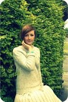 bronze Topshop boots - tawny Vintage YSL bag - off white vintage skirt - camel T