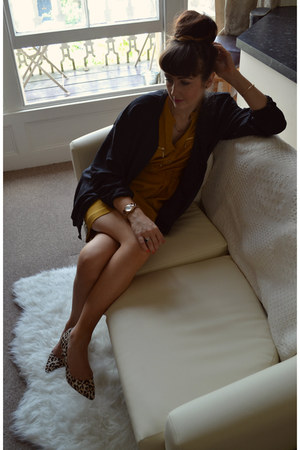mustard shift Marks & Spencer dress - black loose fit Urban Outfitters jacket