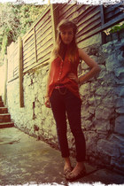 carrot orange diy by me Primark blouse - dark gray skinny ASOS WHITE jeans