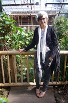 black Primark glasses - white Primark scarf - brown Topshop shoes - green Topsho