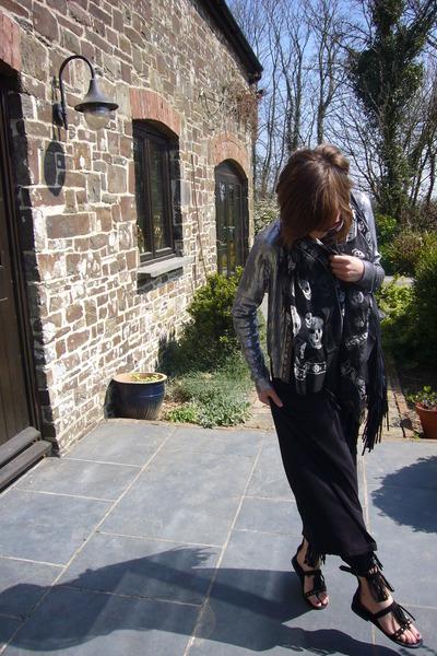 black Alexander McQueen scarf - black new look dress - silver new look jacket -