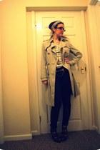 beige sainsburys coat - silver vintage scarf - dark brown Topshop heels - dark g