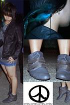 dark gray leather jacket unknown brand jacket - heather gray Zara boots
