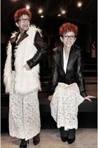 black gift jacket - white vintage bodysuit