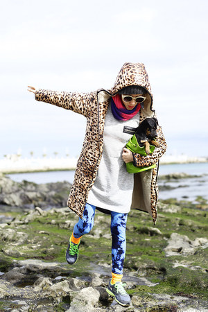 brown leopard print romwe coat - navy We Love Colors leggings