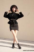 black velvet vintage blazer - black Stra boots