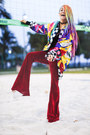 Blue-sequined-vintage-jacket-maroon-velvet-boodwah-pants