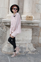 light pink vintage blouse - light pink Area Code dress - black vintage hat
