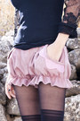 Pink-yiddish-chutzpah-shorts-black-vintage-hat