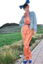 blue bow DIY hat - orange vintage bodysuit