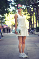 white thrifted blouse - aquamarine giant vintage sunglasses