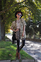 black leopard print H&M leggings - brown vintage boots