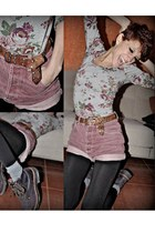 deep purple 7leguas boots - heather gray as a top Bershka dress - maroon vintage