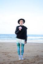 black romwe jacket - turquoise blue unitard We Love Colors leggings