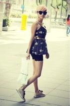 camel asos shoes - navy pepa loves dress - black giant vintage sunglasses