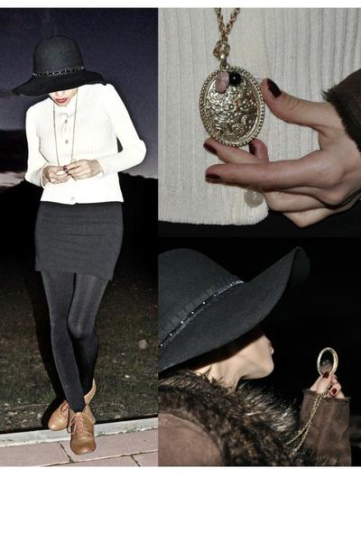 camel lace up oxfords Zara shoes - black American Apparel dress - black Seeberge