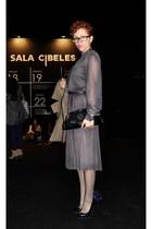 navy vintage dress - black vintage bag - deep purple handmade accessories