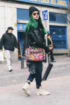 black beanie Shana hat - ivory Panama Jack boots - hot pink handmade bag