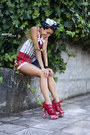 Red-printed-boodwah-shorts-navy-vintage-bag