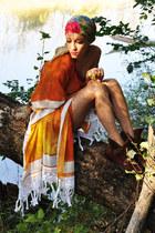 carrot orange poncho DIY cape - brown vintage boots