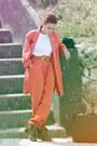 Carrot-orange-vintage-blazer-white-no-brand-blouse