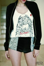Black-hot-pants-boodwah-shorts-white-bego4monso-t-shirt