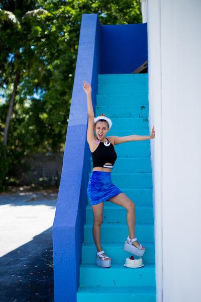 blue velvet American Apparel skirt - black crop top top